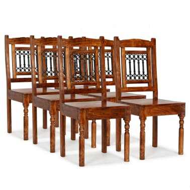vidaXL Dining Chairs 6 pcs Solid Wood with Sheesham Finish Classic[1/10]