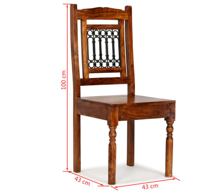 vidaXL Dining Chairs 6 pcs Solid Wood with Sheesham Finish Classic[10/10]