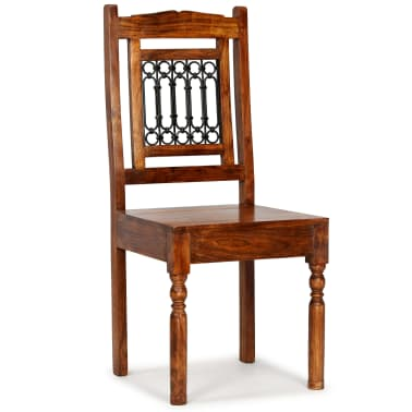 vidaXL Dining Chairs 6 pcs Solid Wood with Sheesham Finish Classic[8/10]