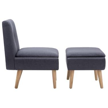vidaXL Fauteuil sans accoudoirs avec pouf Revêtement tissu Gris foncé[3/15]