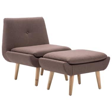 vidaXL Fotelj s stolčkom za noge z oblogo iz blaga rjave barve[2/15]