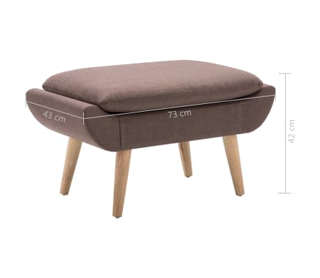 vidaXL Slipper-Stuhl mit Fußhocker Stoffpolsterung Braun[15/15]