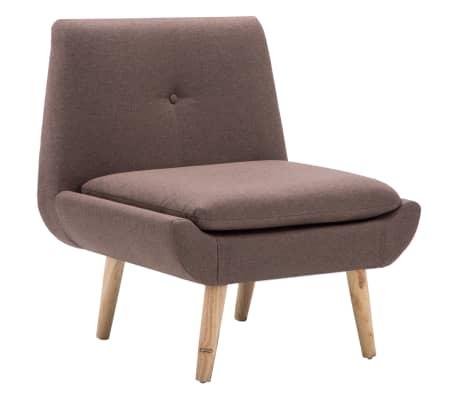 vidaXL Fotelj s stolčkom za noge z oblogo iz blaga rjave barve[4/15]