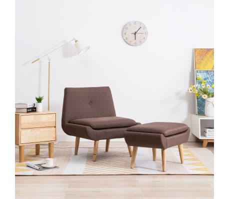 vidaXL Fotelj s stolčkom za noge z oblogo iz blaga rjave barve[1/15]