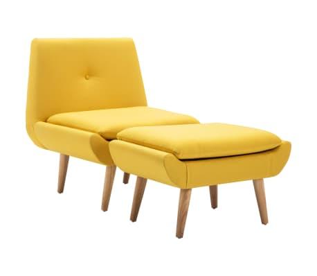vidaXL Křeslo s podnožkou žluté textil