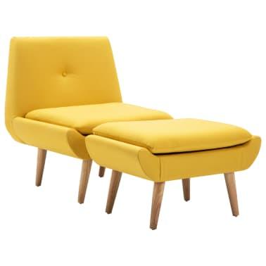 vidaXL Fotelj s stolčkom za noge z oblogo iz blaga rumene barve[2/15]