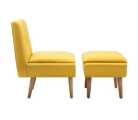 vidaXL Fotelj s stolčkom za noge z oblogo iz blaga rumene barve[3/15]