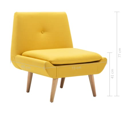 vidaXL Fotelj s stolčkom za noge z oblogo iz blaga rumene barve[14/15]