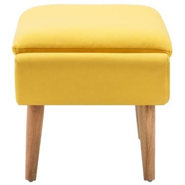 vidaXL Fotelj s stolčkom za noge z oblogo iz blaga rumene barve[11/15]