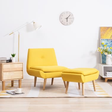 vidaXL Fotelj s stolčkom za noge z oblogo iz blaga rumene barve[1/15]