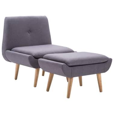 vidaXL Slipper-Stuhl mit Fußhocker Stoffbezug Grau[2/15]