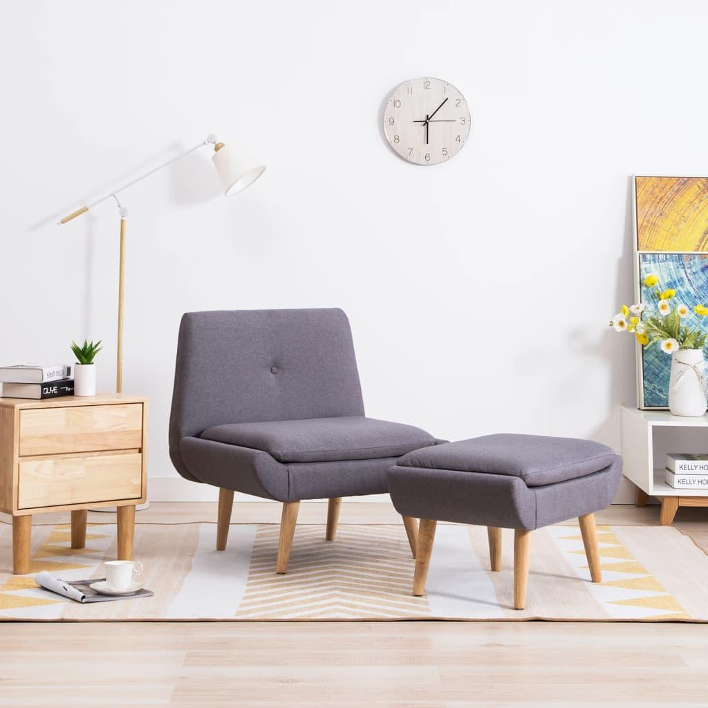 vidaXL szürke kárpitos karfa nélküli fotel lábzsámollyal