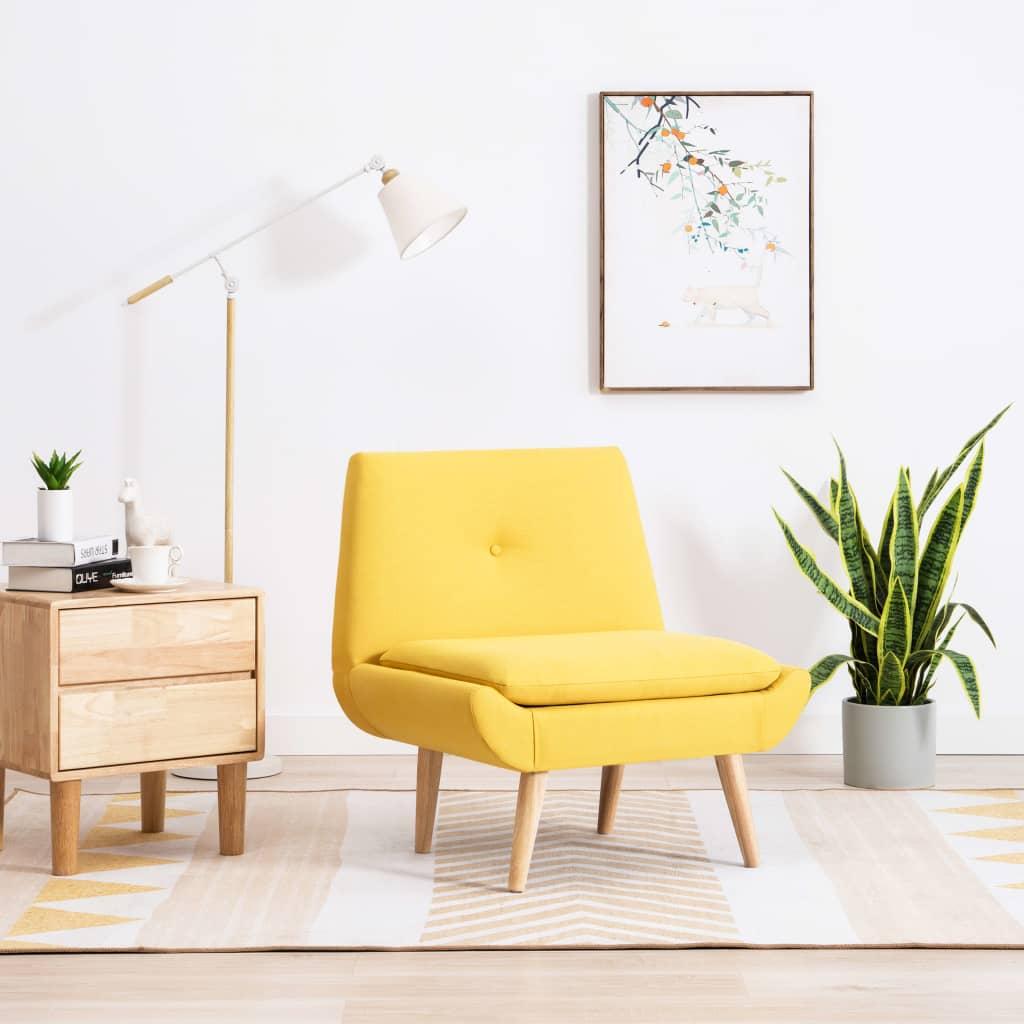 Křeslo s textilním čalouněním 73 x 66 x 77 cm žluté