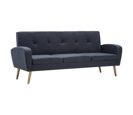 vidaXL Trivietė sofa, audinys, tamsiai pilka[2/8]