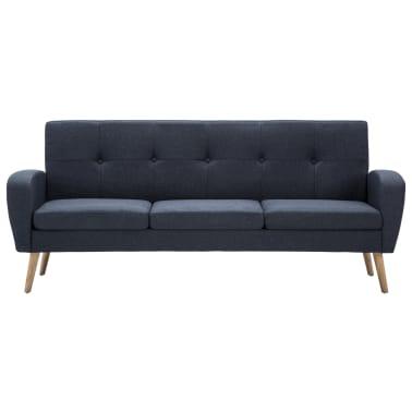 vidaXL Trivietė sofa, audinys, tamsiai pilka[3/8]