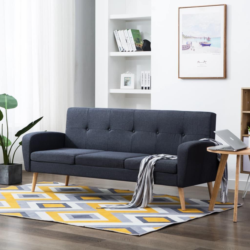 vidaXL 3-osobowa sofa tapicerowana tkaniną, ciemnoszara