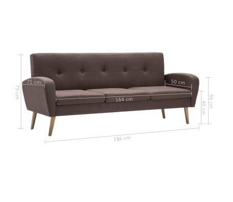 vidaXL 3-Sitzer-Sofa Stoff Braun[8/8]