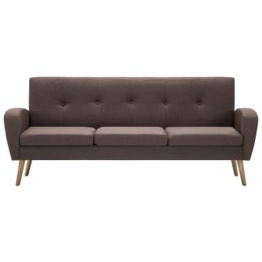 vidaXL 3-Sitzer-Sofa Stoff Braun[3/8]