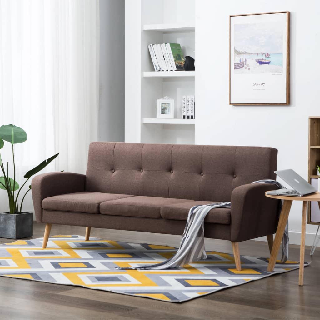 vidaXL 3-osobowa sofa tapicerowana tkaniną, brązowa