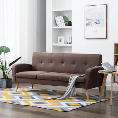 vidaXL 3-Sitzer-Sofa Stoff Braun[1/8]