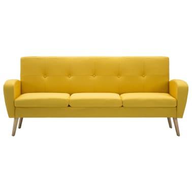 vidaXL 3-miestna pohovka, látková žltá[3/8]
