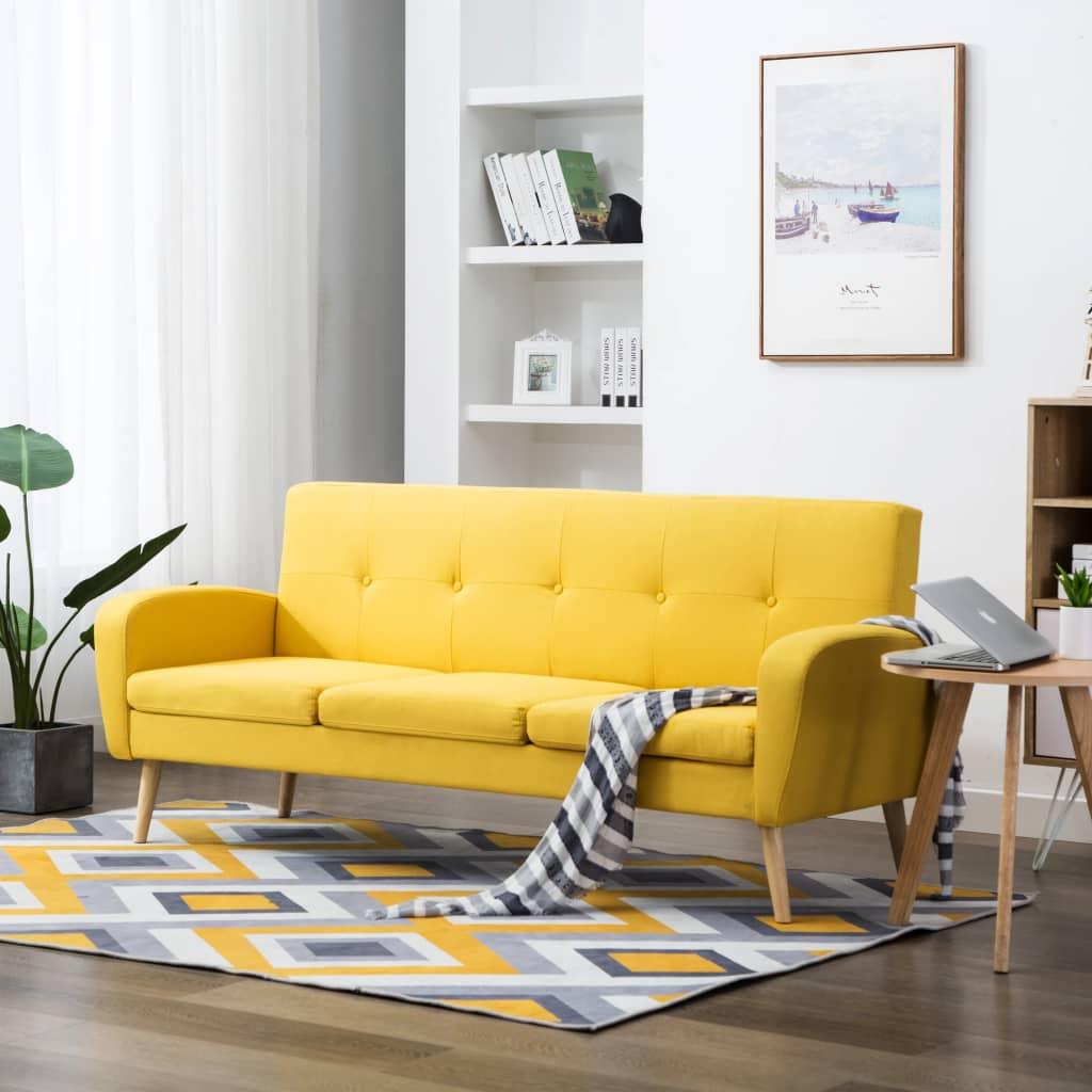 vidaXL 3-osobowa sofa tapicerowana tkaniną, żółta