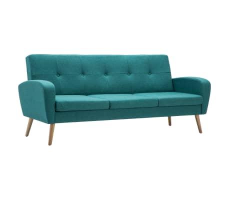 vidaXL Trivietė sofa, audinys, žalia[2/8]