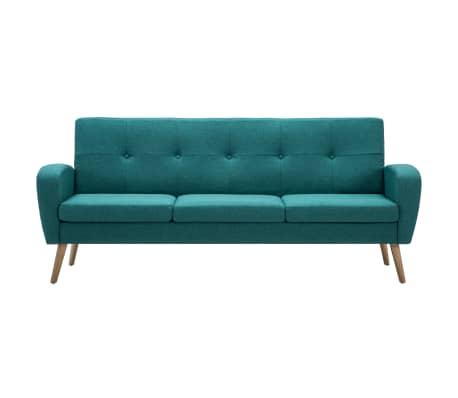 vidaXL Trivietė sofa, audinys, žalia[3/8]