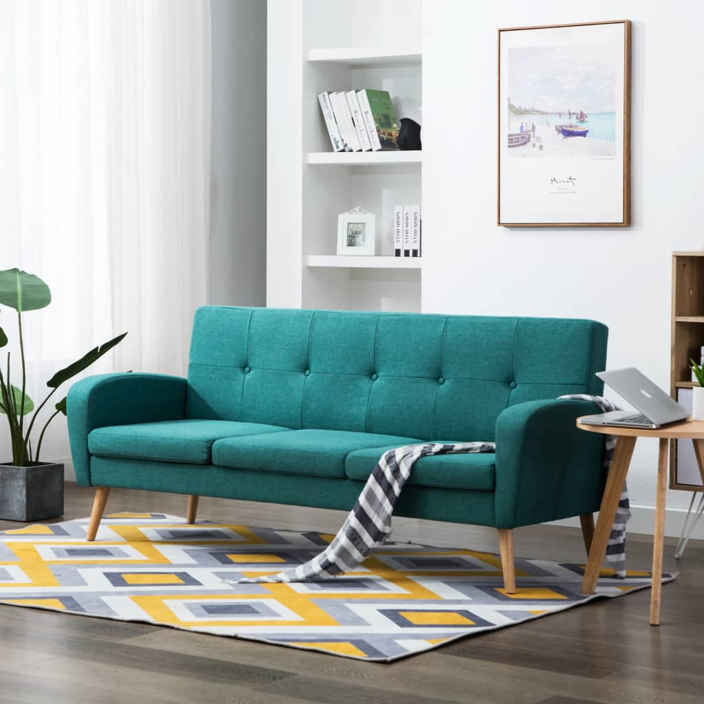 vidaXL 3-osobowa sofa tapicerowana tkaniną, zielona