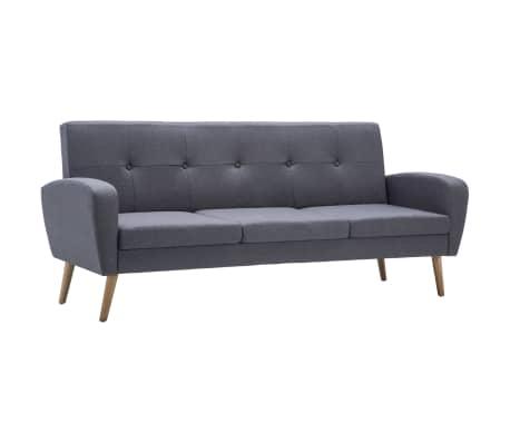 vidaXL Sofá de 3 lugares em tecido cinzento claro