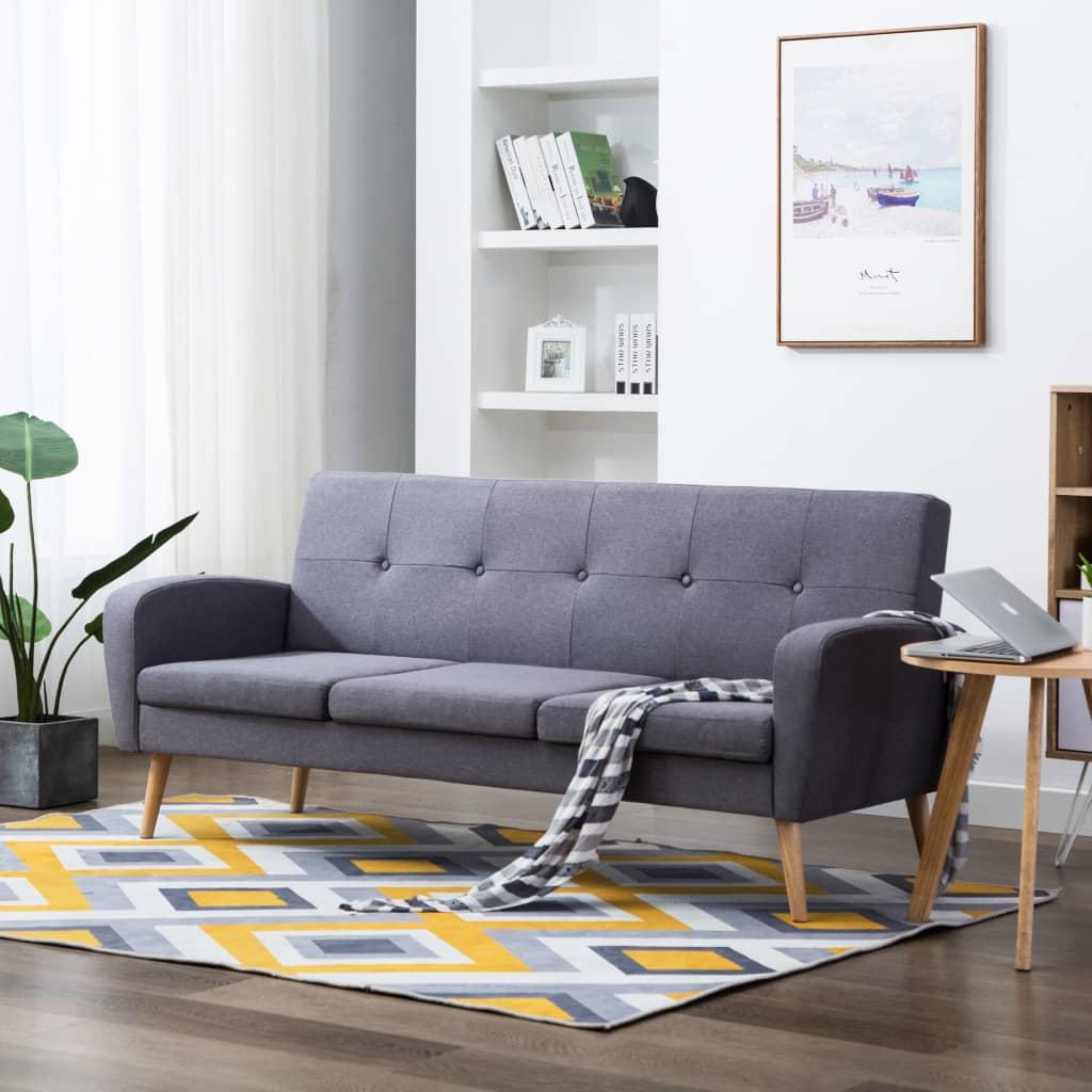 vidaXL Sofa 3-osobowa, tapicerowana tkaniną, jasnoszara