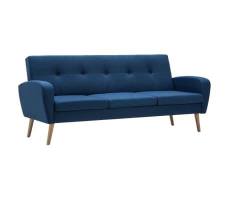 vidaXL Trivietė sofa, audinys, mėlyna