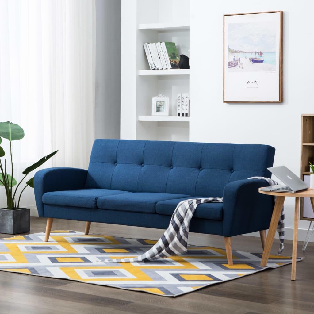 vidaXL 3-osobowa sofa tapicerowana, niebieska
