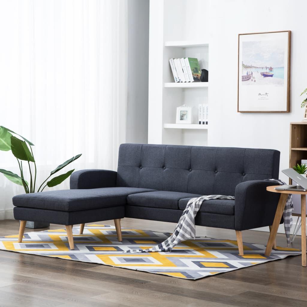vidaXL Sofa w kształcie L, obita tkaniną, 186x136x79 cm, ciemnoszara