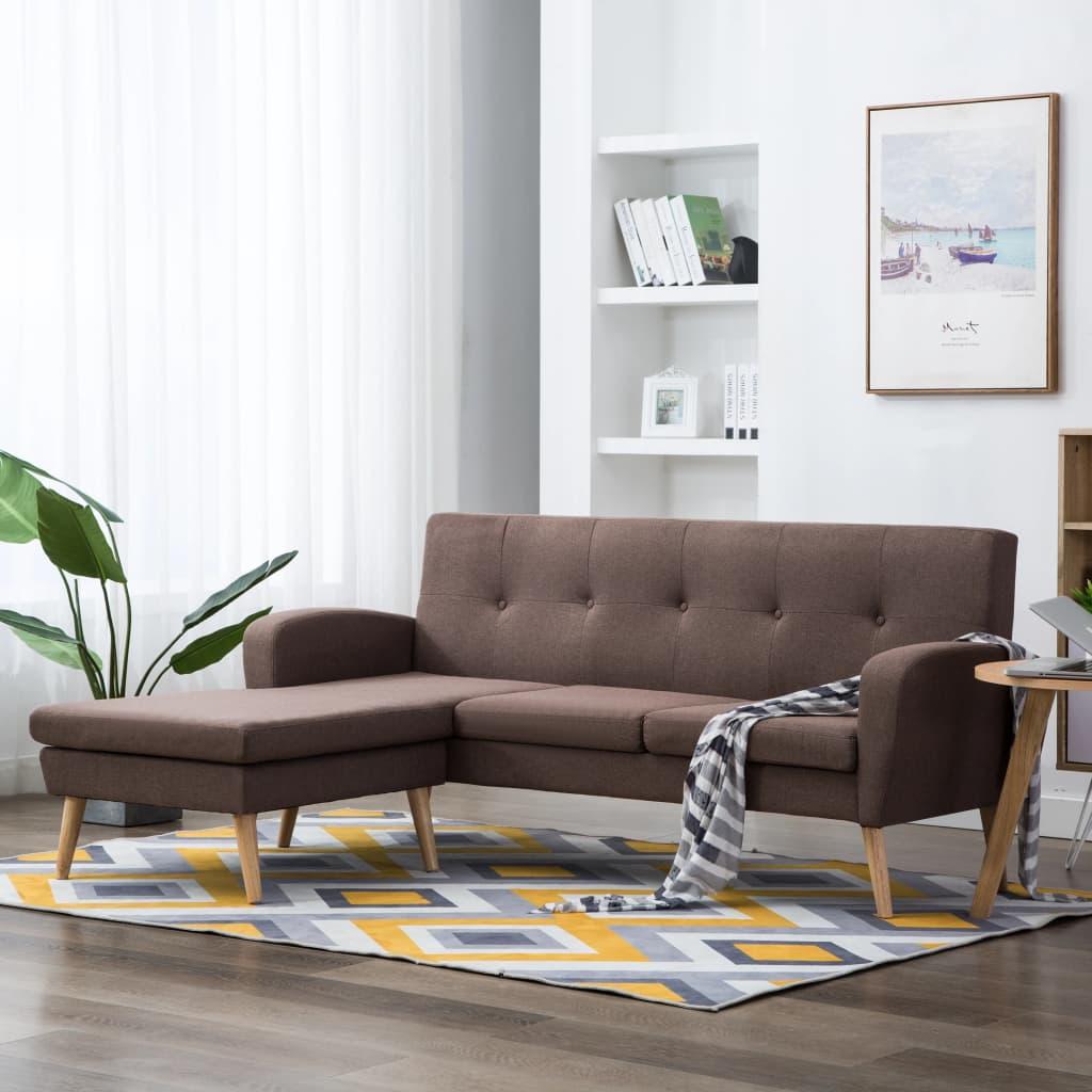 vidaXL Sofa z leżanką, obita tkaniną, 186 x 136 x 79 cm, brązowa