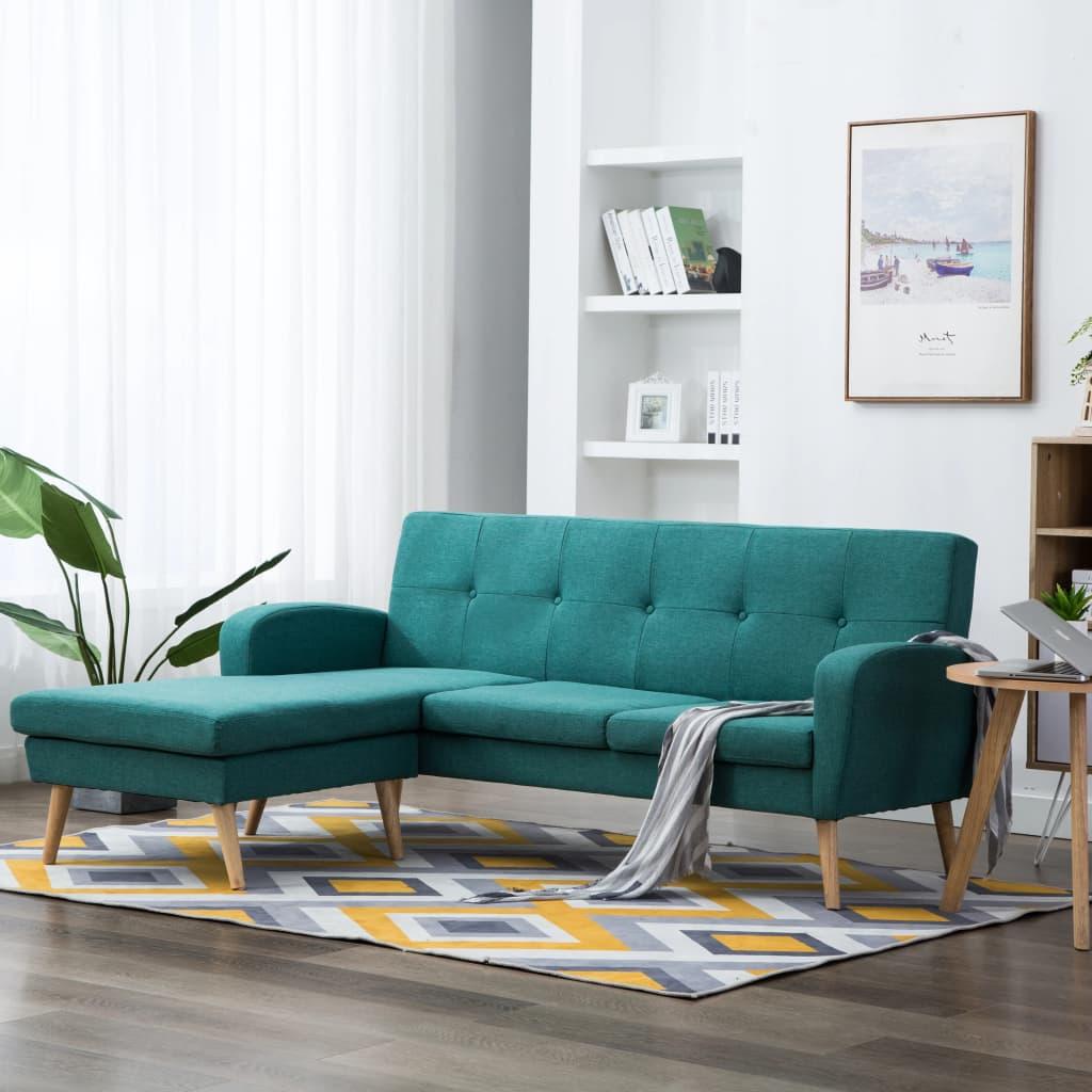 vidaXL Sofa z leżanką, obita tkaniną, 186 x 136 x 79 cm, zielona