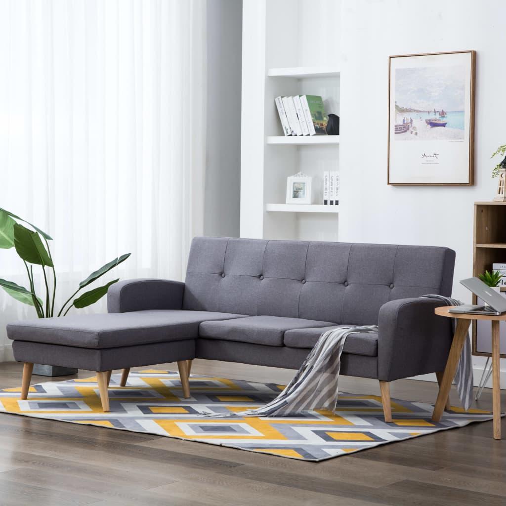 vidaXL Sofa z leżanką, obita tkaniną, 186 x 136 x 79 cm, jasnoszara