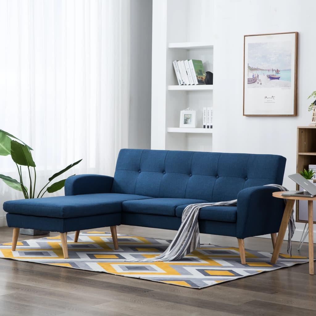 vidaXL Sofa z leżanką, obita tkaniną, 186 x 136 x 79 cm, niebieska