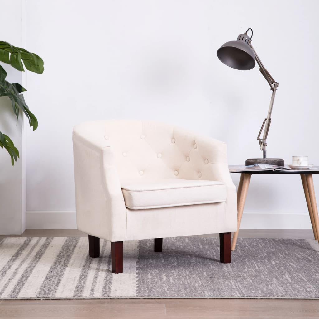 vidaXL Fotel, beżowy, tkanina