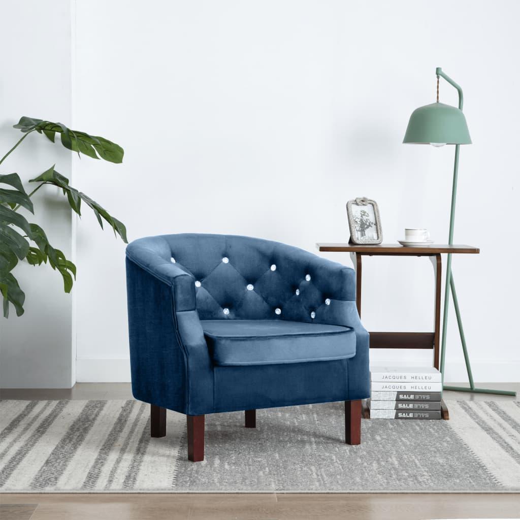 vidaXL Fotel, niebieski, aksamit