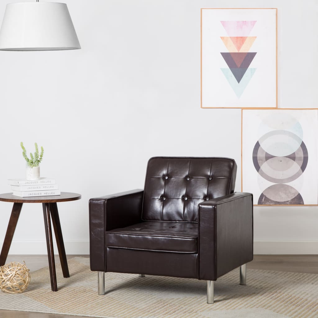 vidaXL Fotel, brązowy, sztuczna skóra