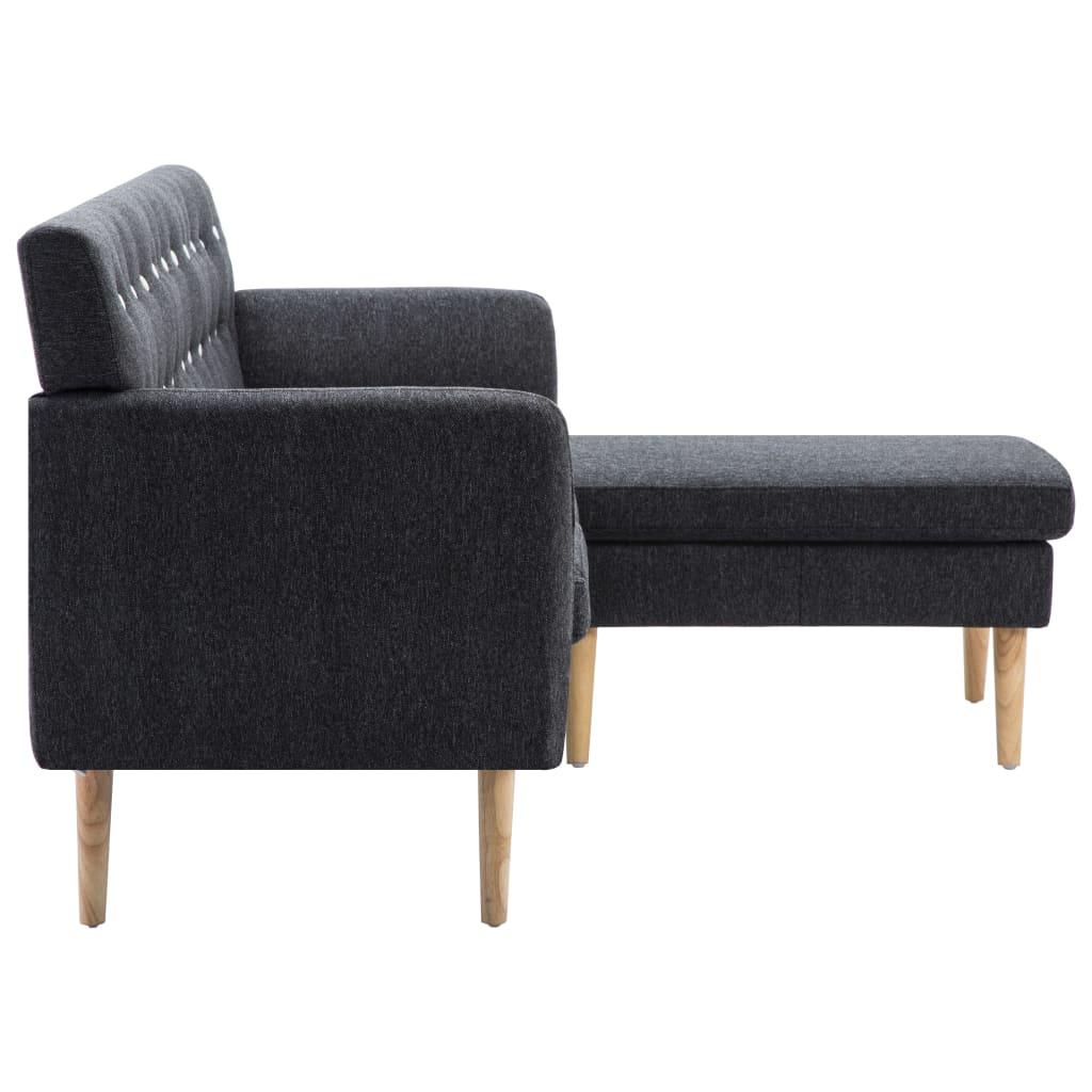 vidaXL Sofá forma de L tapizado de tela gris oscuro 171,5x138x81,5 cm[4/10]