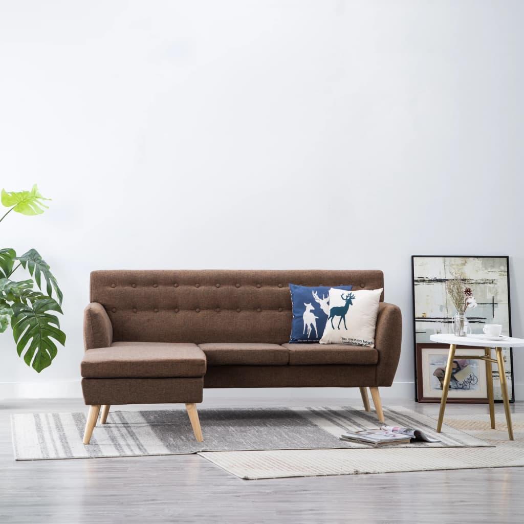 vidaXL Sofa z kształcie L, materiałowa, 171,5x138x81,5 cm, brązowa