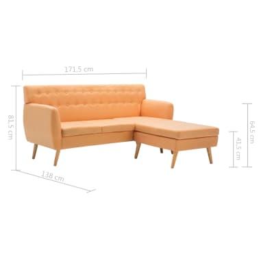vidaXL L-formos sofa, aud. apmušal., 171,5x138x81,5cm, oranžinė[10/10]