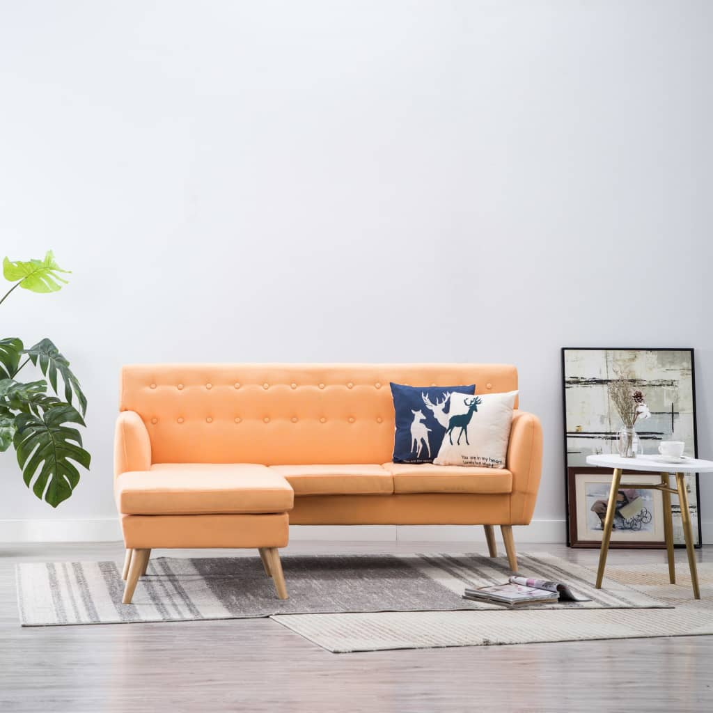 vidaXL Sofa z leżanką, obita tkaniną, 171,5x138x81,5 cm, pomarańczowa