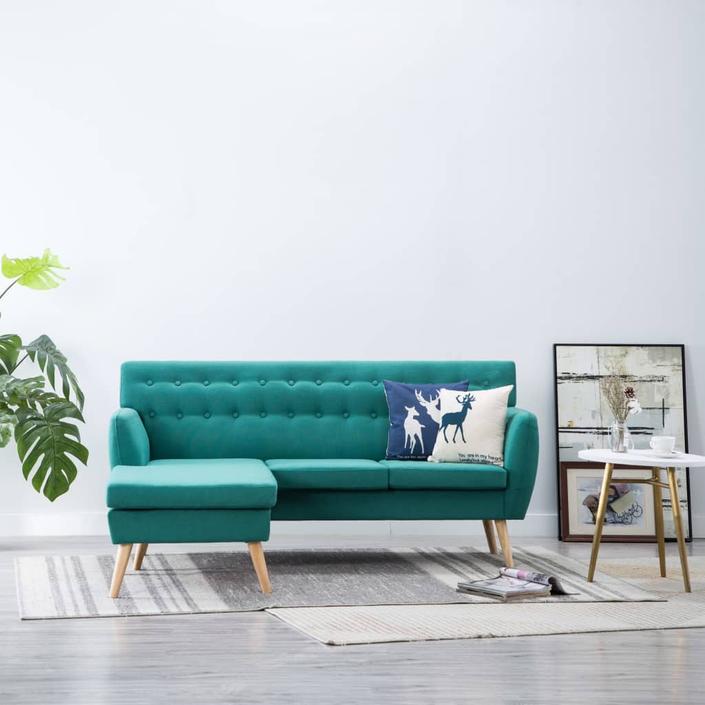 vidaXL Sofa z leżanką, obita tkaniną, 171,5 x 138 x 81,5 cm, zielona