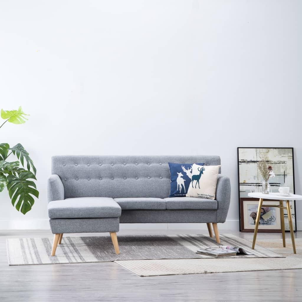 vidaXL Sofa z leżanką, obita tkaniną, 171,5x138x81,5 cm, jasnoszara