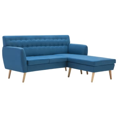 vidaXL Rohová sedačka textilní čalounění 171,5 x 138 x 81,5 cm modrá[2/10]