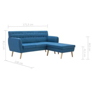 vidaXL Rohová sedačka textilní čalounění 171,5 x 138 x 81,5 cm modrá[10/10]