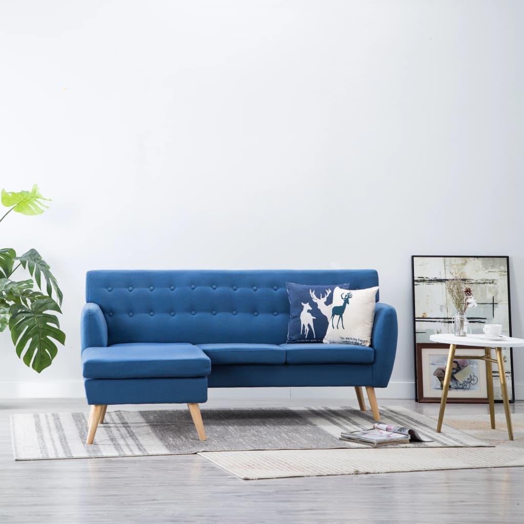 vidaXL Sofa z leżanką, obita tkaniną, 171,5 x 138 x 81,5 cm, niebieska